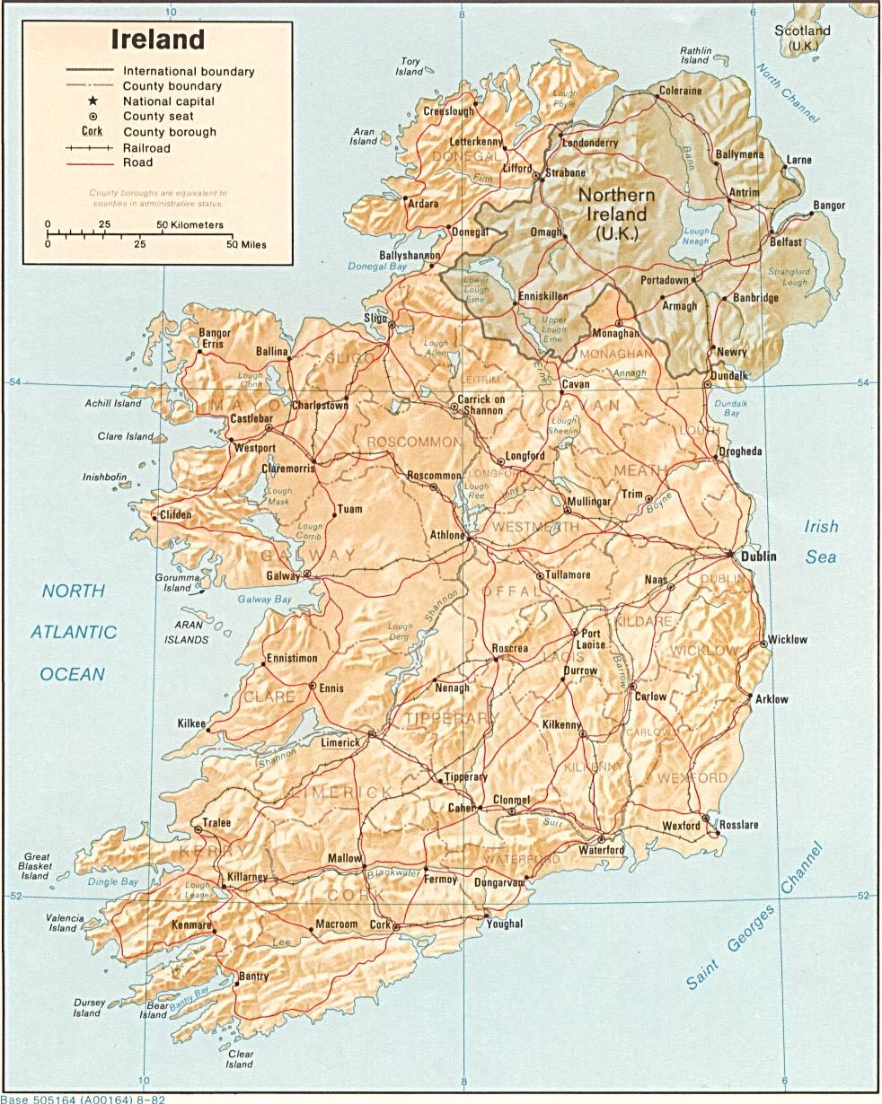 Irland Karte.Landkarte Republik Irland Reliefkarte Weltkarte Com