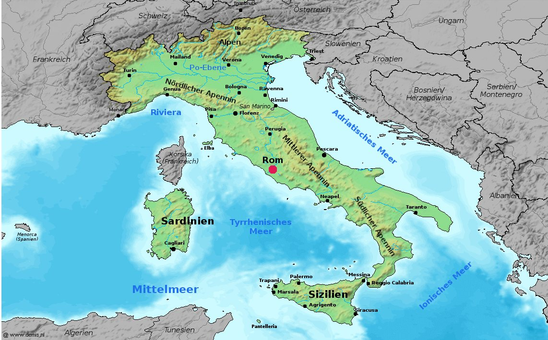 Landkarte Italien Grosse Ubersichtskarte Weltkarte Com