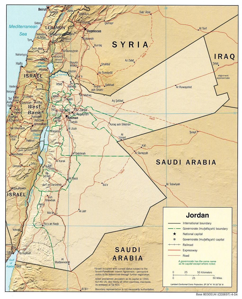 Jordanien Karte.Landkarte Jordanien Reliefkarte Weltkarte Com Karten Und