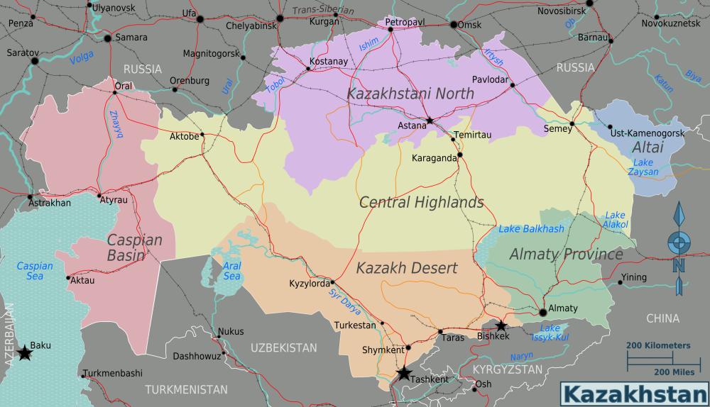 karte kasachstan Landkarte Kasachstan (Übersichtskarte/Regionen) : Weltkarte. karte kasachstan