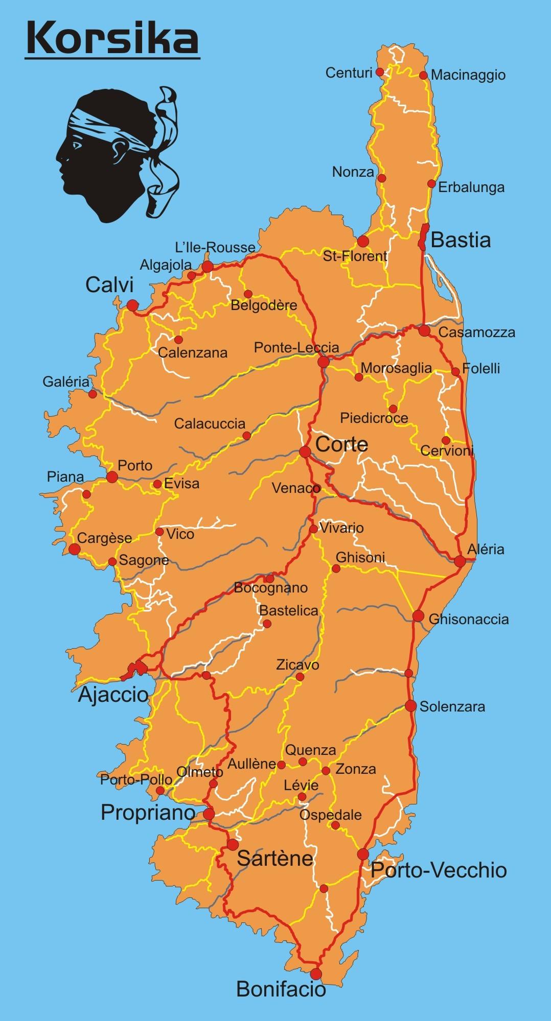 Karte Von.Karte Von Korsika übersichtskarte Weltkarte Com Karten Und