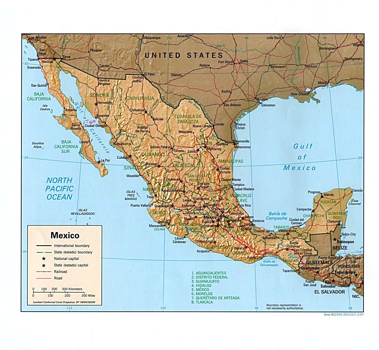 Mexiko Karte Welt.Landkarte Mexiko Reliefkarte Weltkarte Com Karten Und