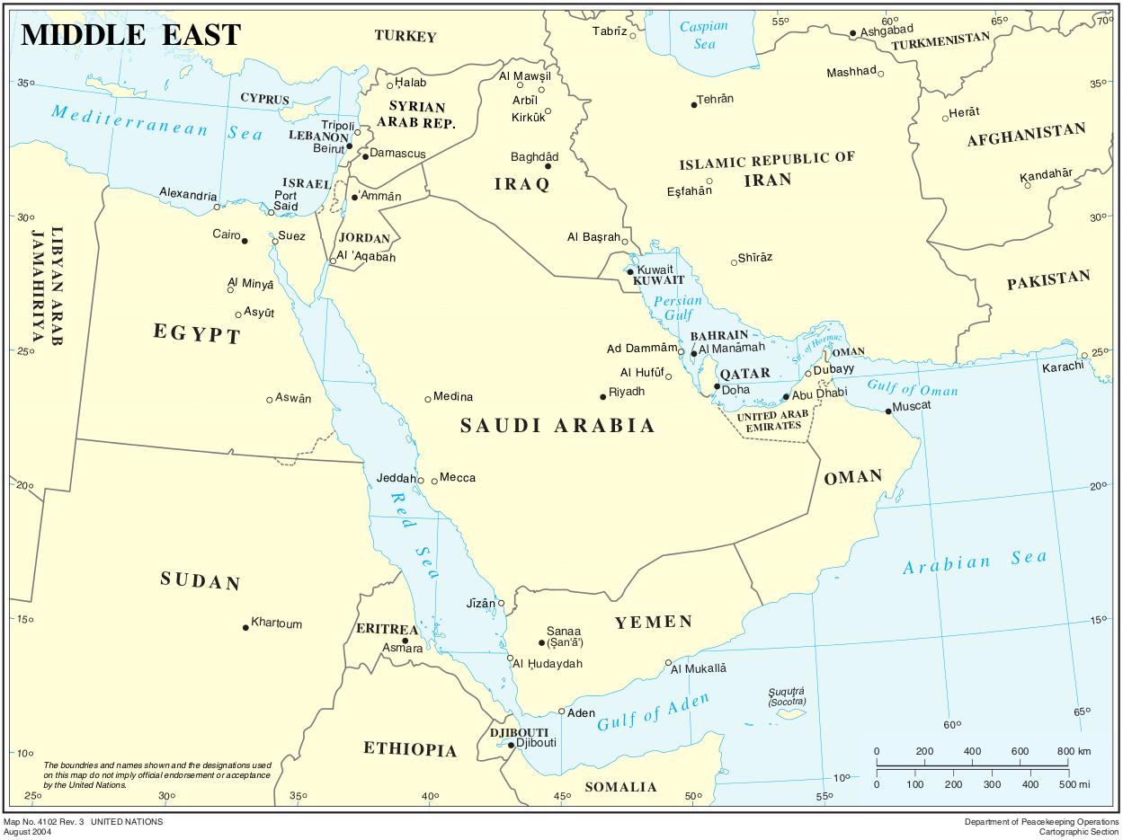 karte mittlerer osten Karte Naher/Mittlerer Osten (Politische Karte) : Weltkarte. karte mittlerer osten