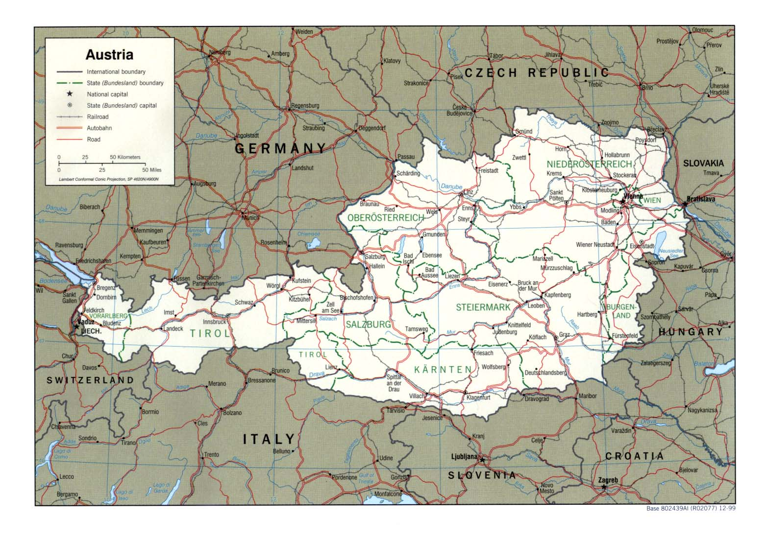landkarte oesterreich politische karte karten und stadtpl ne der welt. Black Bedroom Furniture Sets. Home Design Ideas