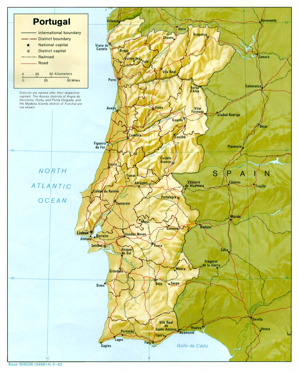 Landkarte Portugal Reliefkarte Weltkarte Com Karten Und