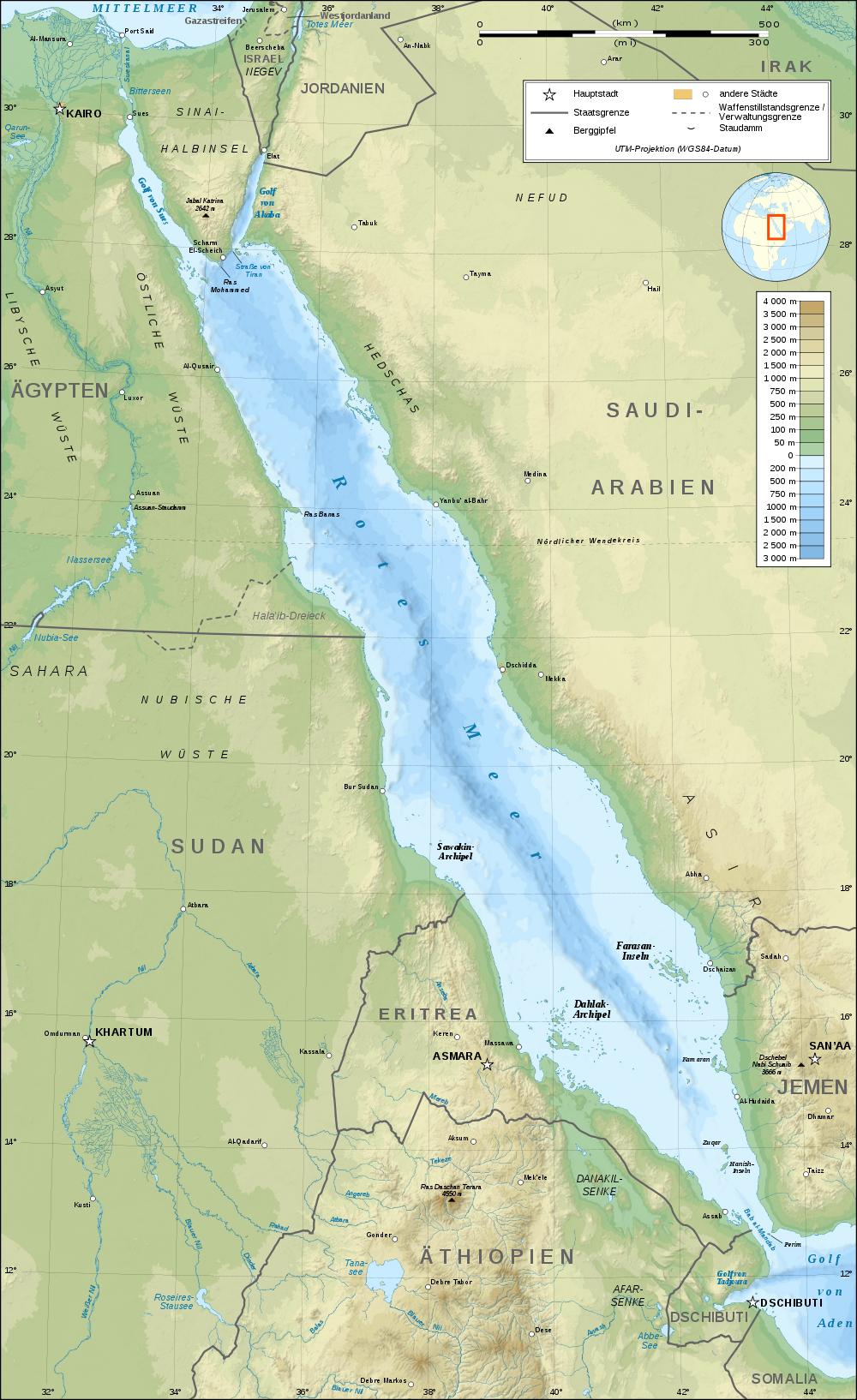 rotes meer karte Landkarte vom Roten Meer (Topographische Karte) : Weltkarte. rotes meer karte