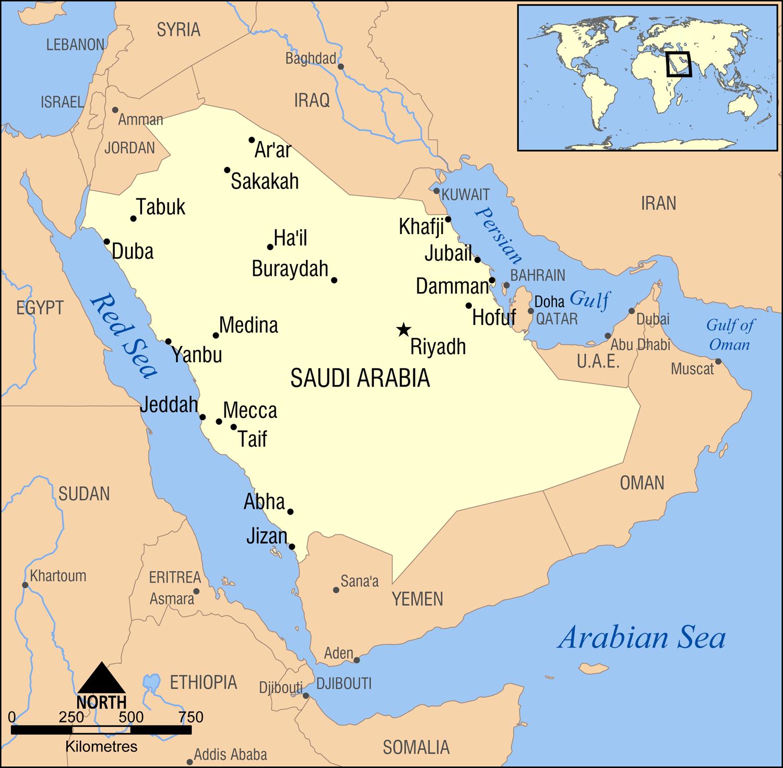 karte saudi arabien Landkarte Saudi Arabien (Übersichtskarte) : Weltkarte.  Karten  karte saudi arabien