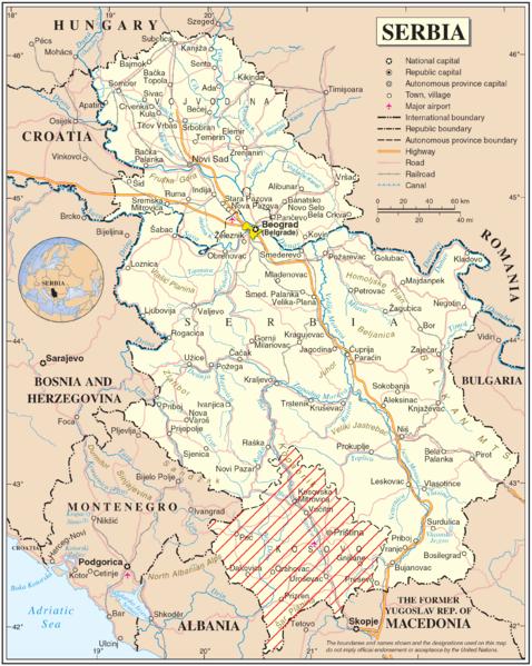 landkarte serbien politische karte karten und stadtpl ne der welt. Black Bedroom Furniture Sets. Home Design Ideas