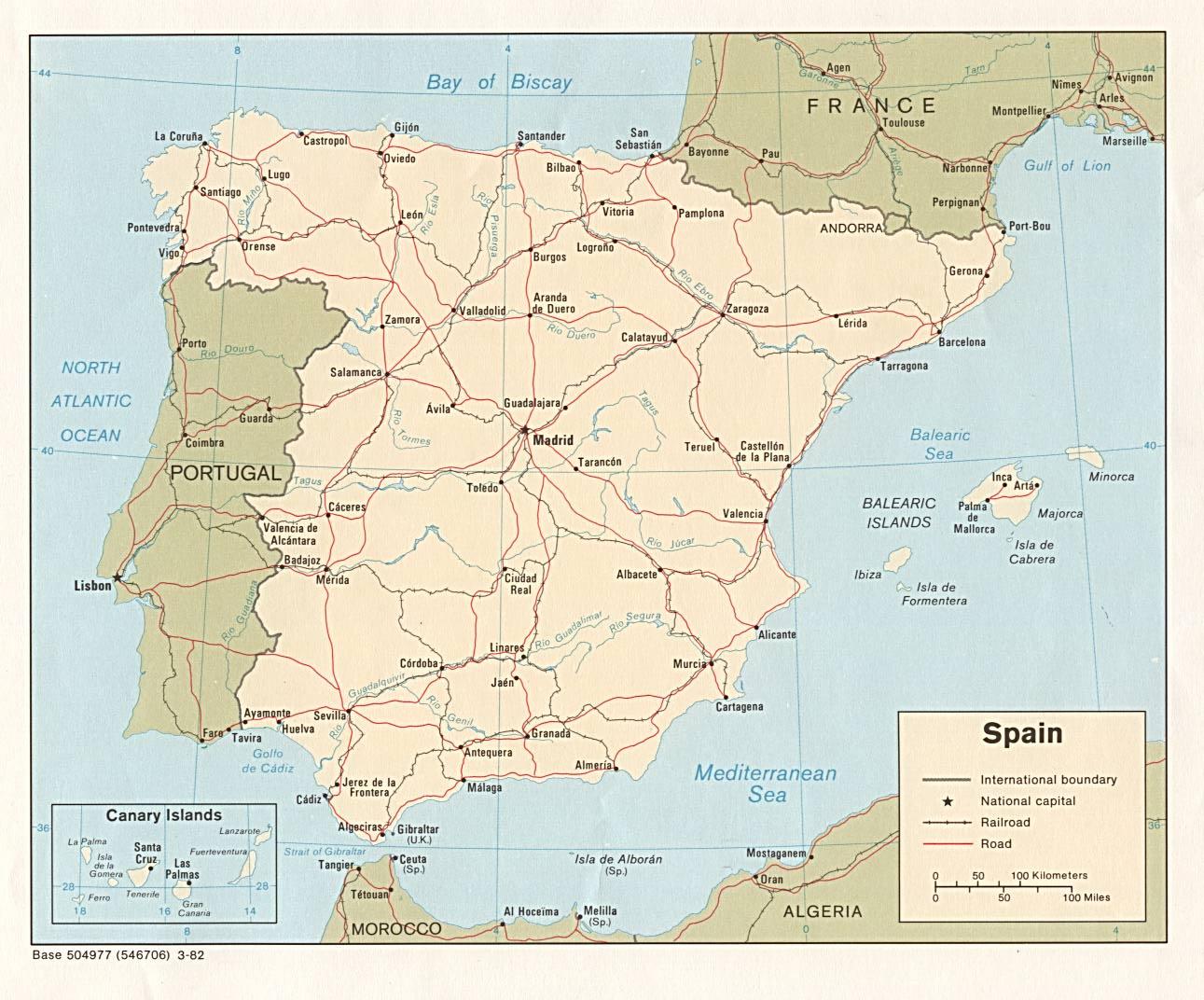 Landkarte Spanien (politische Karte) : Weltkarte.com - Karten und ...