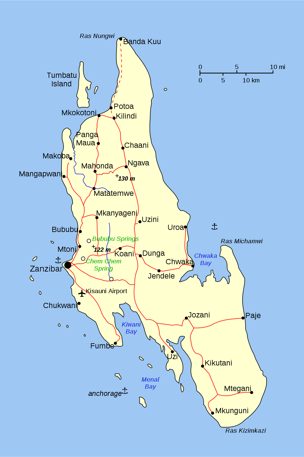 zanzibar karte Karte der Insel Sansibar (Tansania) : Weltkarte.  Karten und