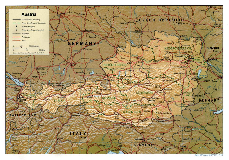 Landkarte Oesterreich (Reliefkarte) : Weltkarte.com - Karten und Stadtpläne der Welt