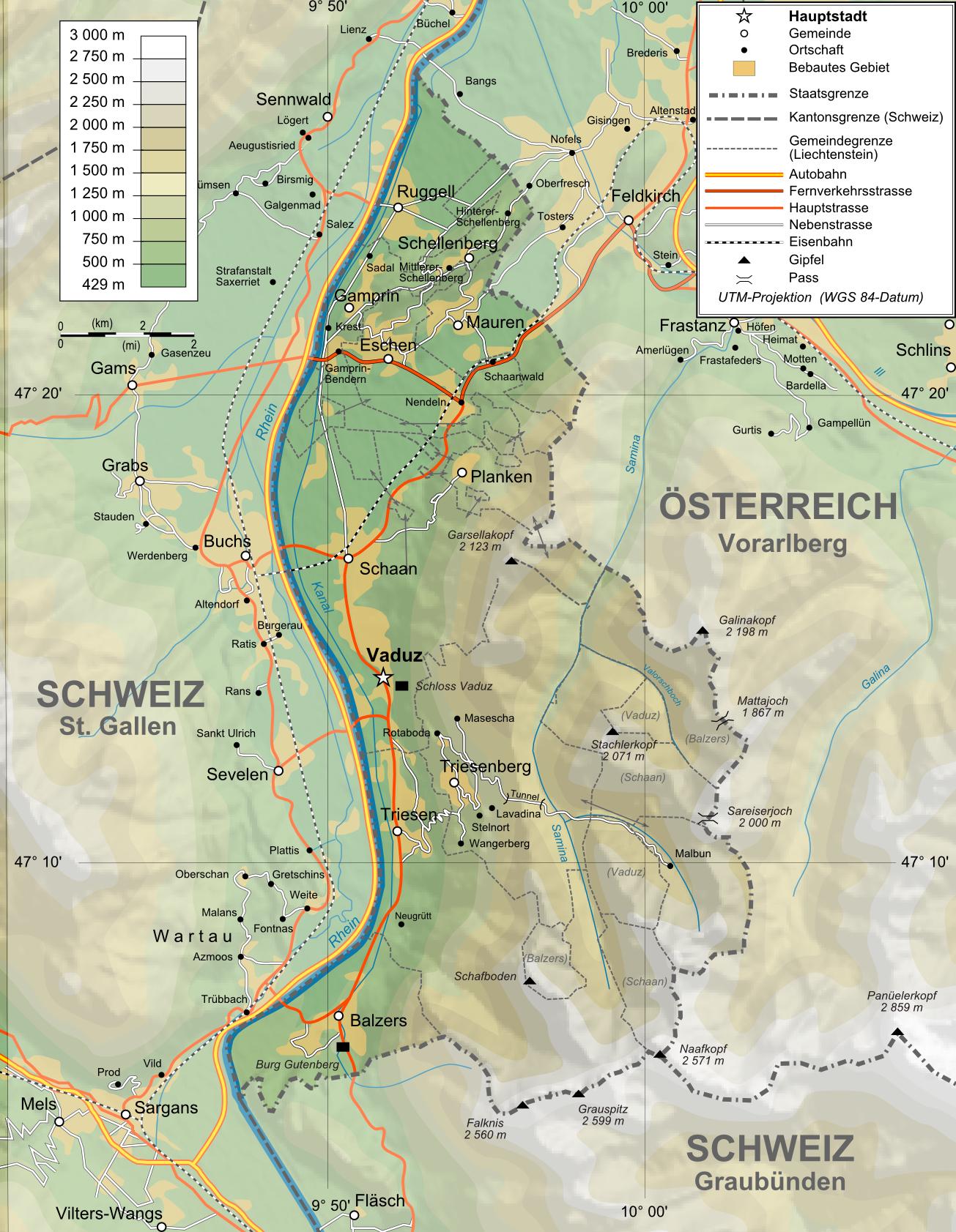 Topographische Karte Deutschland Kostenlos.Landkarte Liechtenstein Topographische Karte Weltkarte
