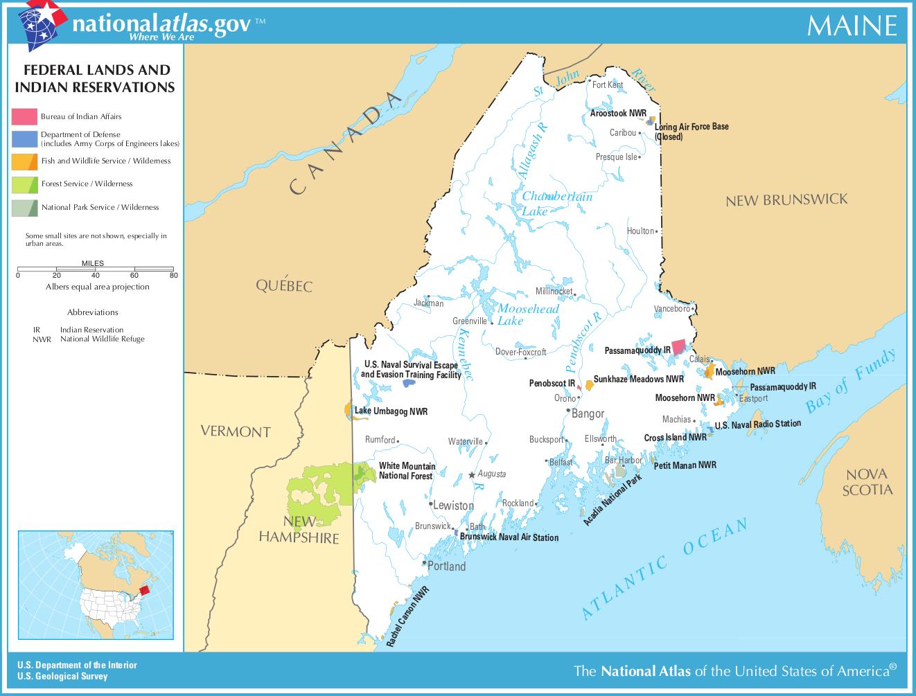 Landkarte Maine Karte Parks Und Indianerreservate