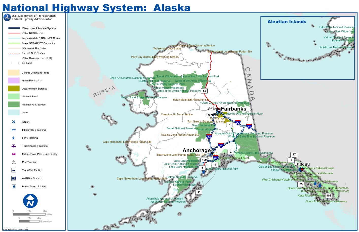 Landkarte Alaska Strassenkarte Highways Weltkarte Com Karten