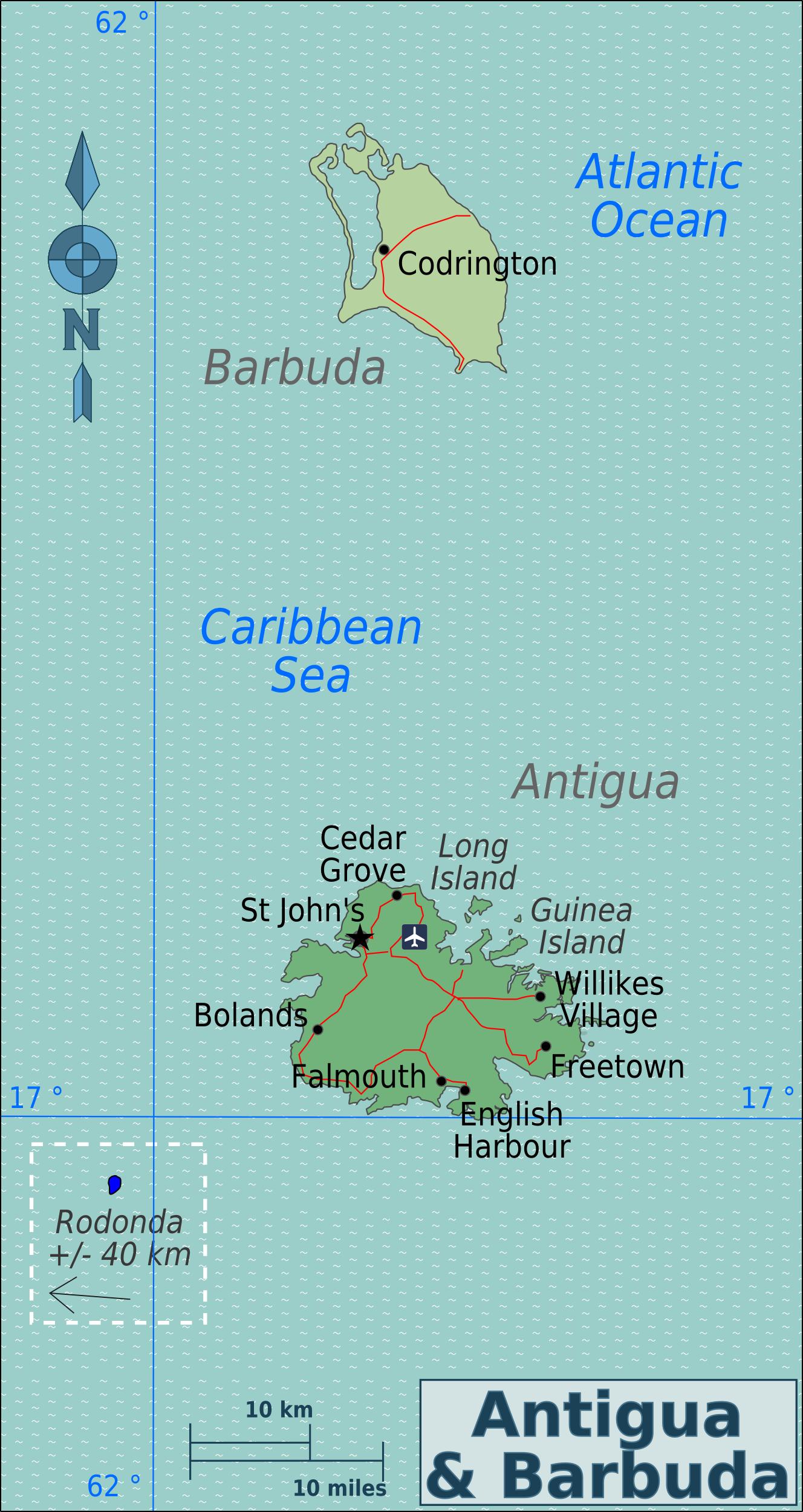 Karte Antigua und Barbuda (Übersichtskarte) : Weltkarte.com - Karten ...