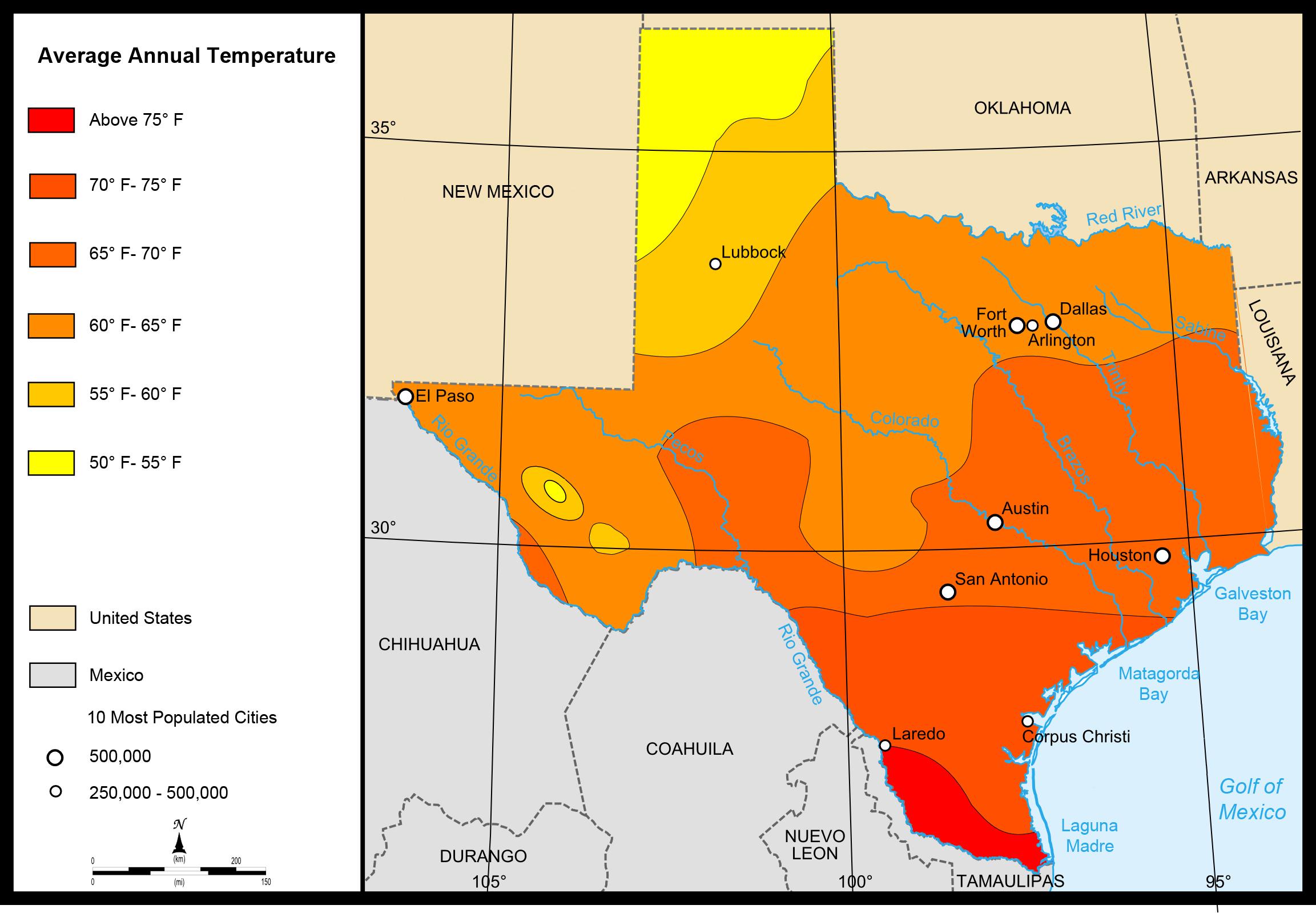 Landkarte Texas Karte Durchschnittstemperaturen