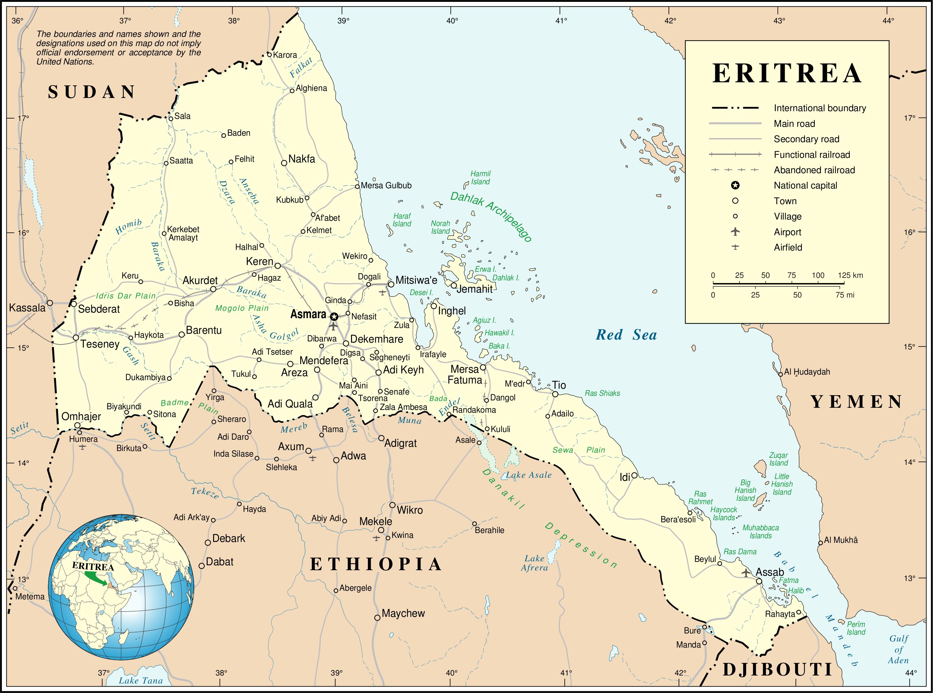 Landkarte eritrea politische karte for Politica italiana wikipedia