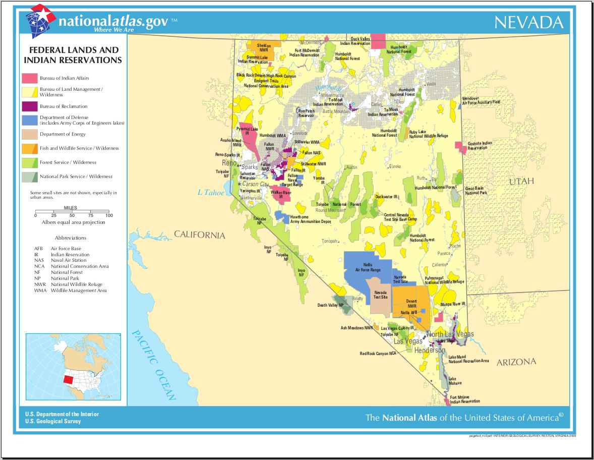 Landkarte Nevada Karte Parks Und Indianer Reservate