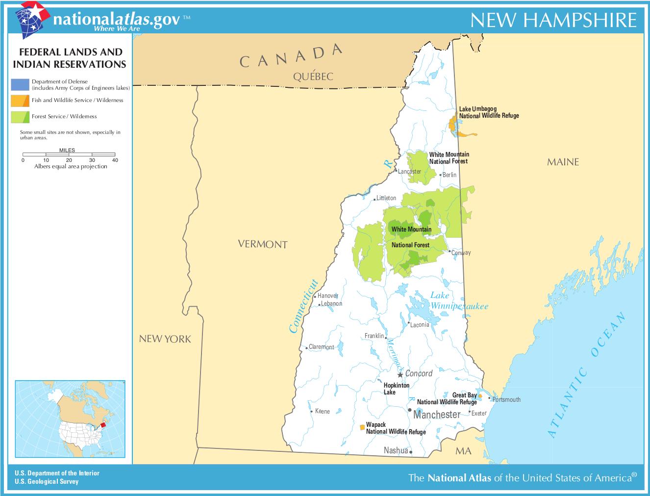 Indianerstamme Nordamerikas Karte.Landkarte New Hampshire Karte Parks Und Indianer Reservate