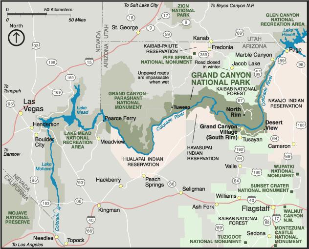 Landkarte Arizona Karte Vom Grand Canyon Weltkarte Com