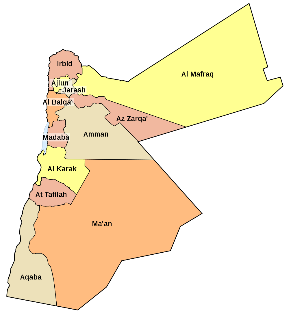 Jordanien Karte.Landkarte Jordanien Karte Gouvernements Weltkarte Com Karten