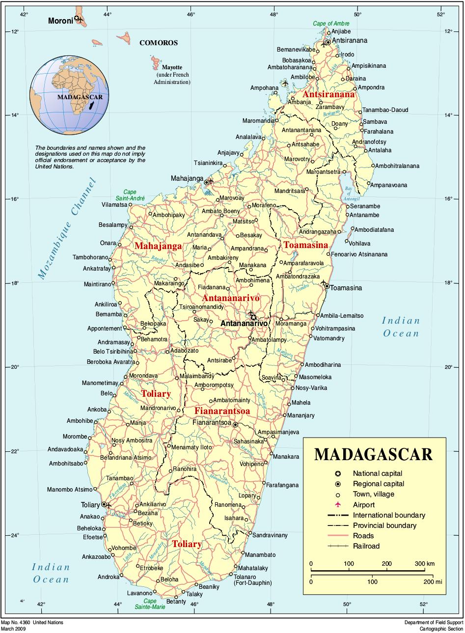 Madagaskar Karte.Landkarte Madagaskar Politische Karte Weltkarte Com