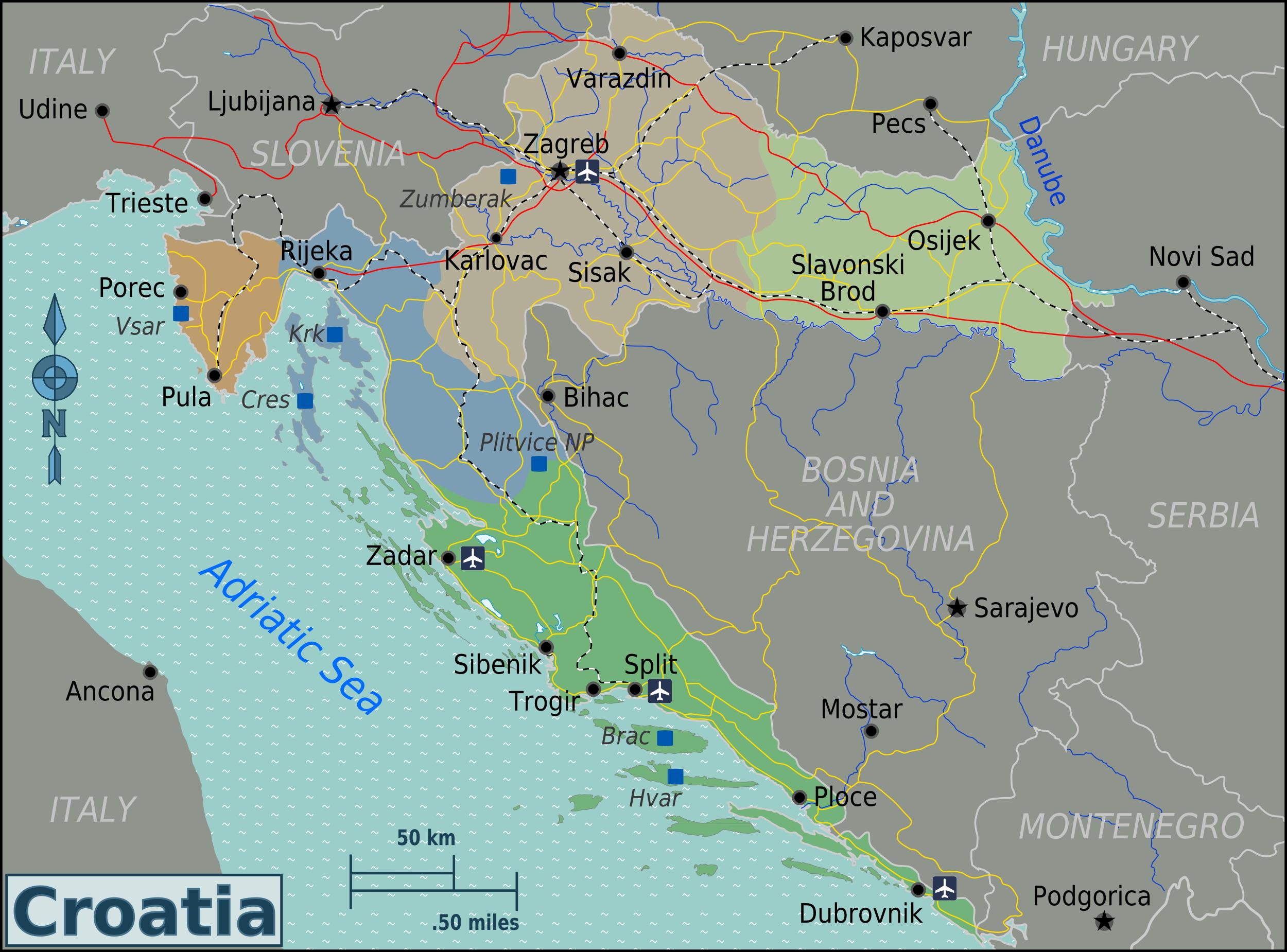 landkarte kroatien bersichtskarte regionen weltkarte. Black Bedroom Furniture Sets. Home Design Ideas