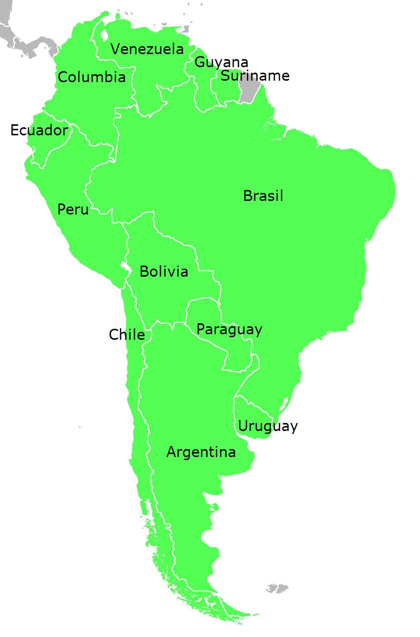 Landkarte Sudamerika Politische Karte Englisch Namen