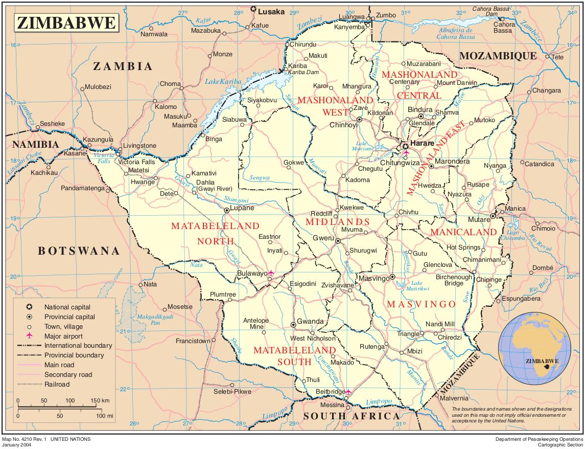 simbabwe karte Landkarte von Simbabwe (Politische Karte) : Weltkarte.  Karten