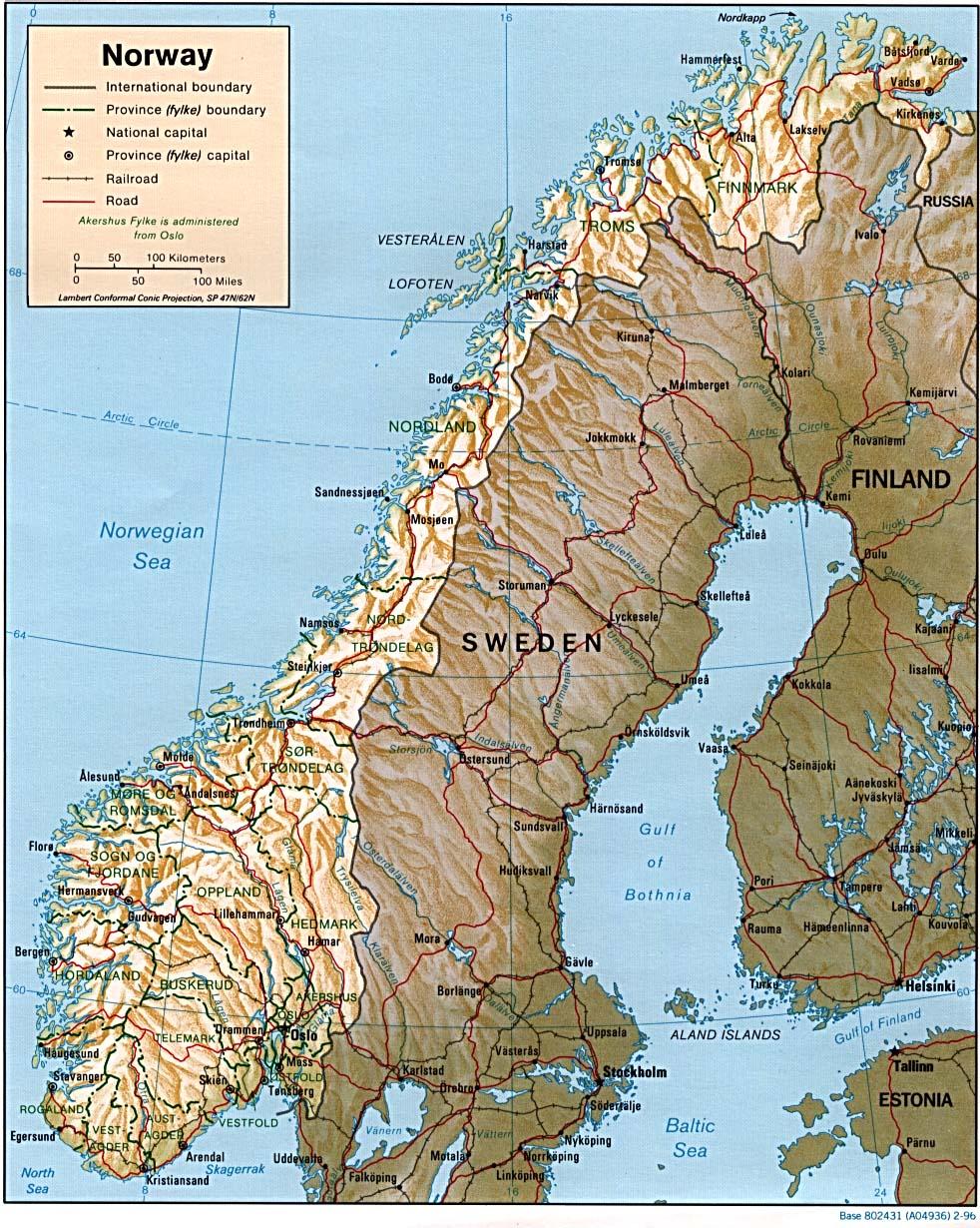 Landkarte Norwegen Reliefkarte Weltkarte Com Karten Und