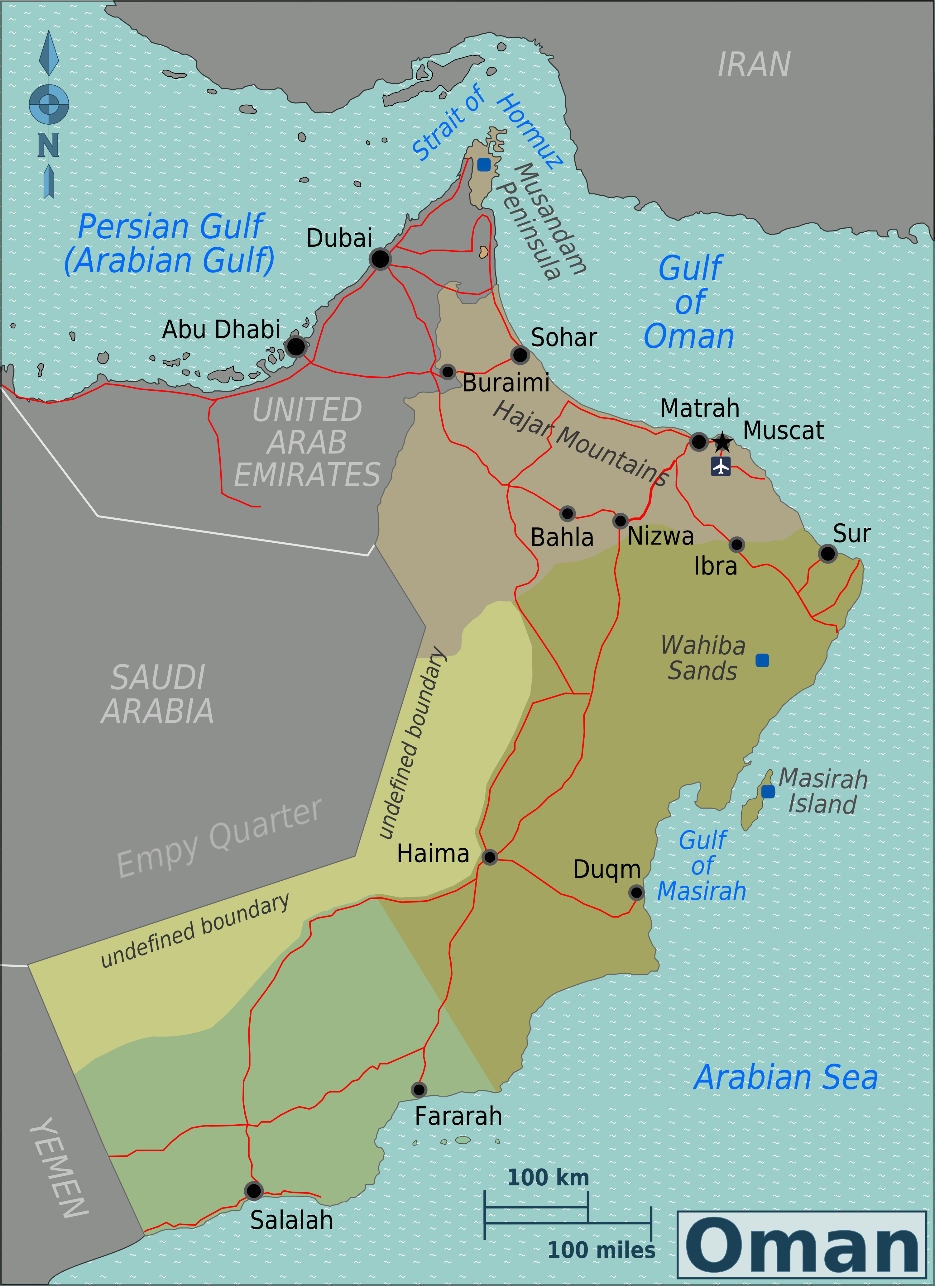Karte Oman.Landkarte Oman übersichtskarte Regionen Weltkarte Com Karten