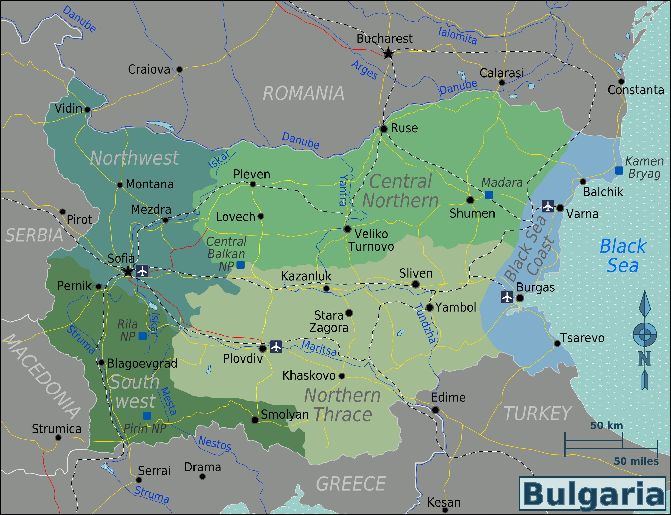 Bulgarien Karte Deutsch.Landkarte Bulgarien Karte Regionen Weltkarte Com