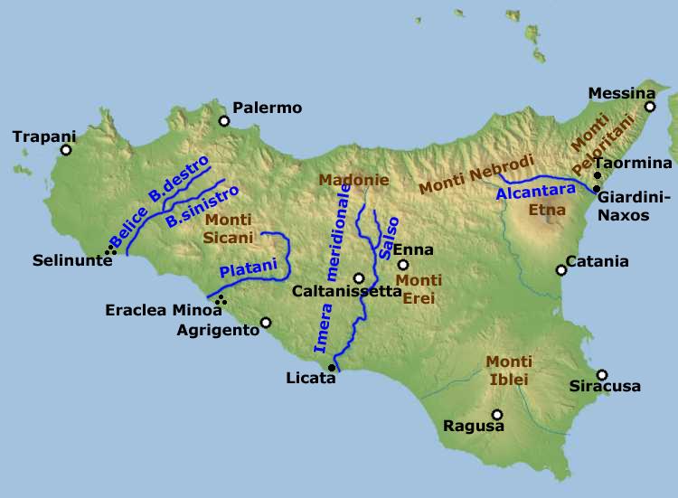 Landkarte Sizilien Ubersichtskarte Weltkarte Com Karten Und