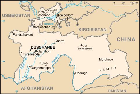 tadschikistan karte Landkarte Tadschikistan (Kleine Übersichtskarte) : Weltkarte.