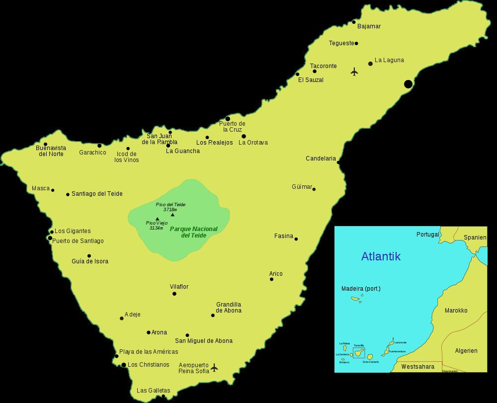 Karte Teneriffa Ubersichtskarte Weltkarte Com Karten Und