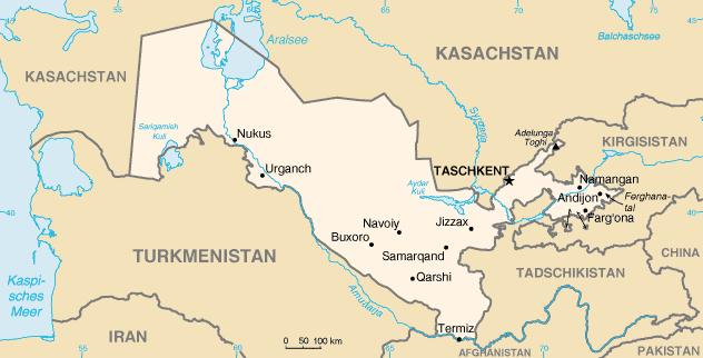 usbekistan karte Landkarte Usbekistan (Kleine Übersichtskarte) : Weltkarte. usbekistan karte