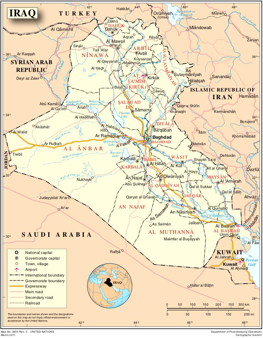 landkarte irak Landkarte Irak (Politische Karte) : Weltkarte.  Karten und  landkarte irak