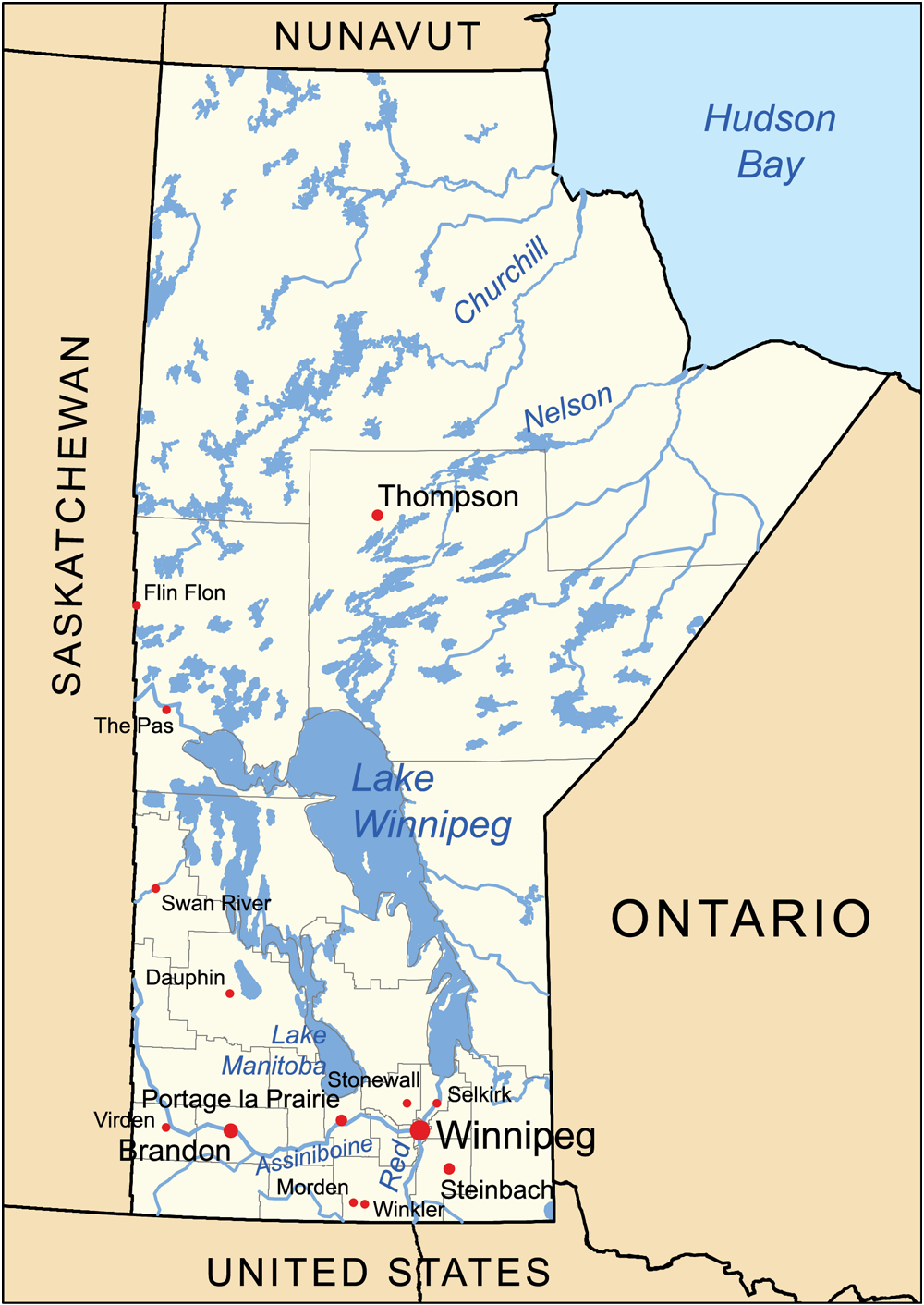Landkarte Manitoba 220 Bersichtskarte Weltkarte Com