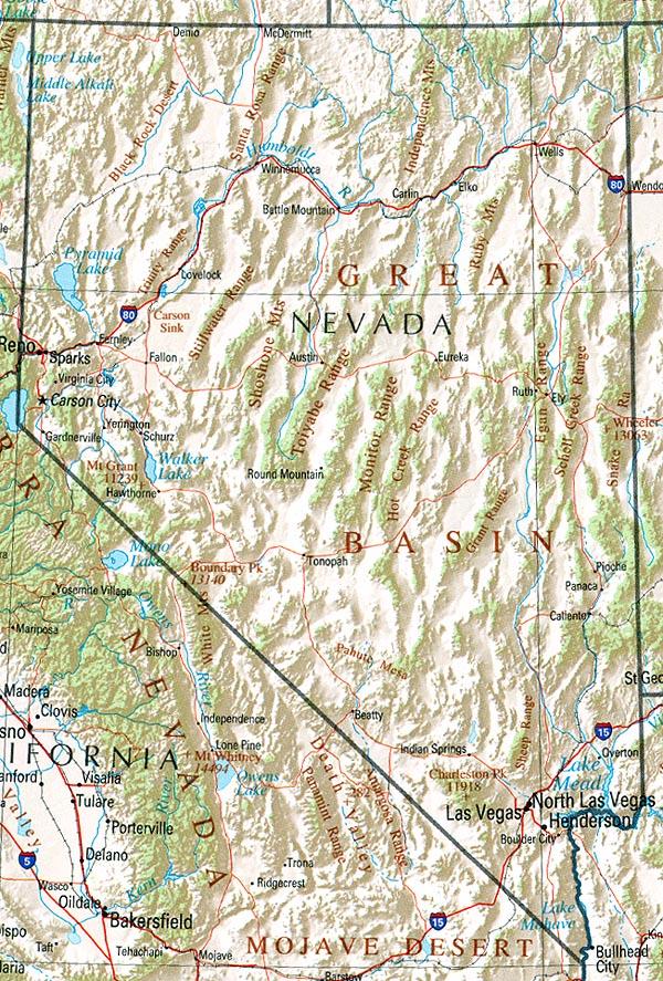 Landkarte Nevada Ubersichtskarte Weltkarte Com Karten Und