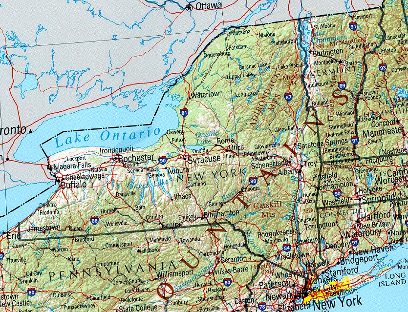 Landkarte New York Ubersichtskarte Weltkarte Com Karten Und