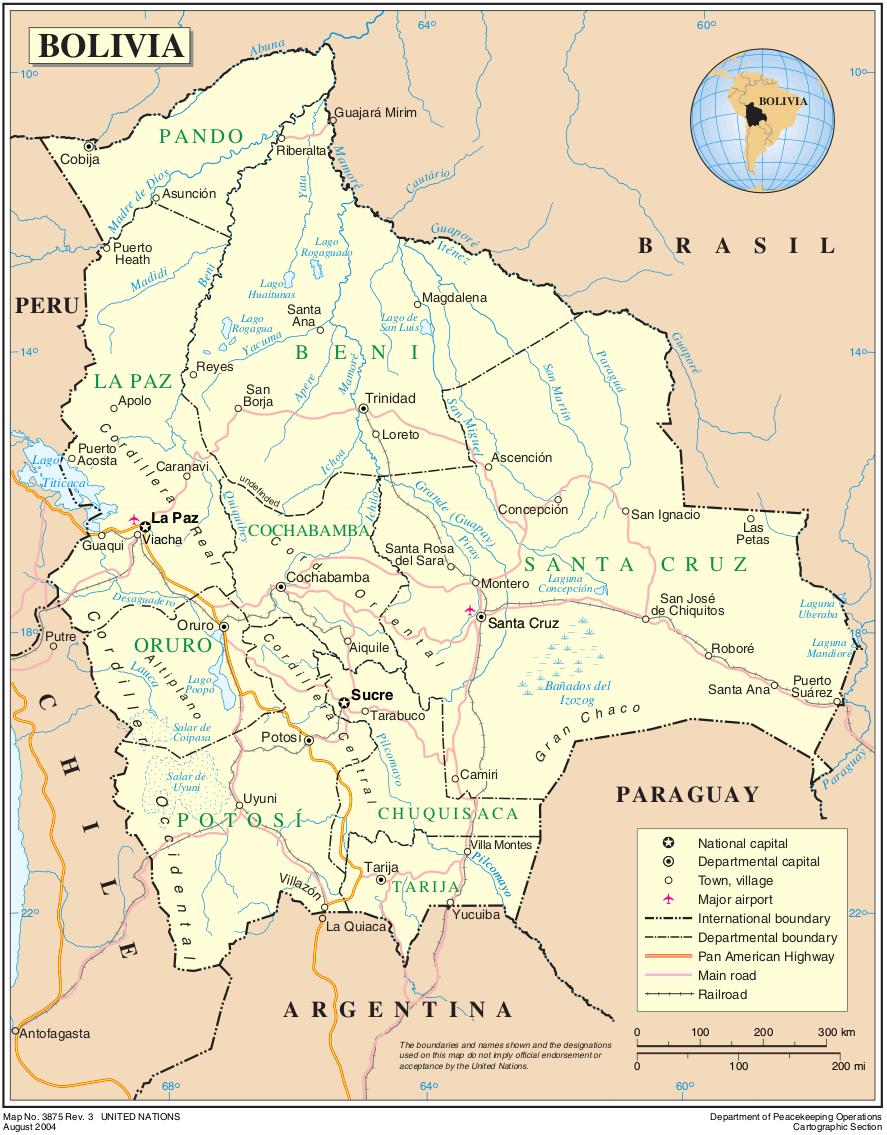 bolivien karte Landkarte Bolivien (Übersichtskarte) : Weltkarte.  Karten und