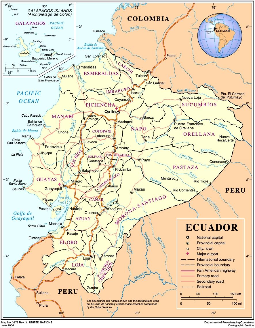 karte ecuador Landkarte Ecuador (Übersichtskarte) : Weltkarte.  Karten und  karte ecuador