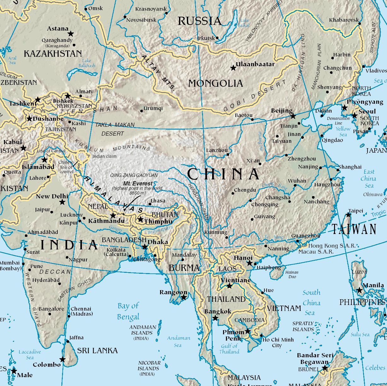 China Karte Physisch.Landkarte China Physische Karte Weltkarte Com Karten Und