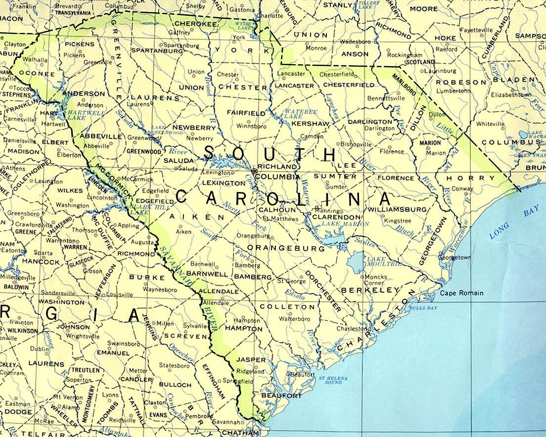 Karte Bamberg Landkarte.Landkarte South Carolina Politische Karte Weltkarte Com