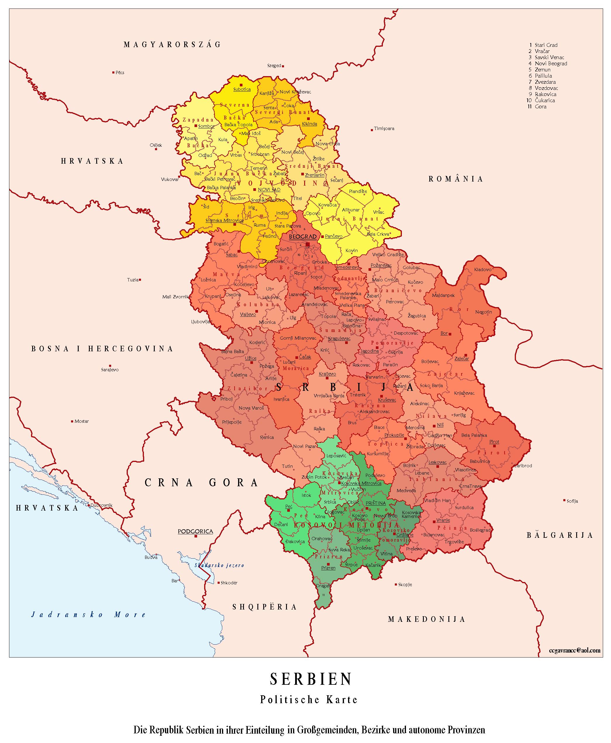 landkarte serbien karte politische gliederung karten und stadtpl ne der welt. Black Bedroom Furniture Sets. Home Design Ideas