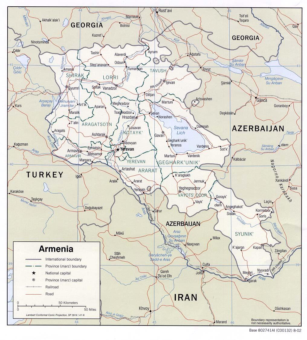Landkarte Armenien Politische Karte Weltkarte Com Karten Und Stadtplane Der Welt