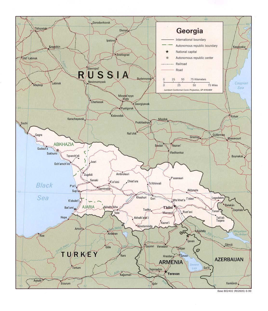 Georgien Karte.Landkarte Georgien Politische Karte Weltkarte Com Karten Und