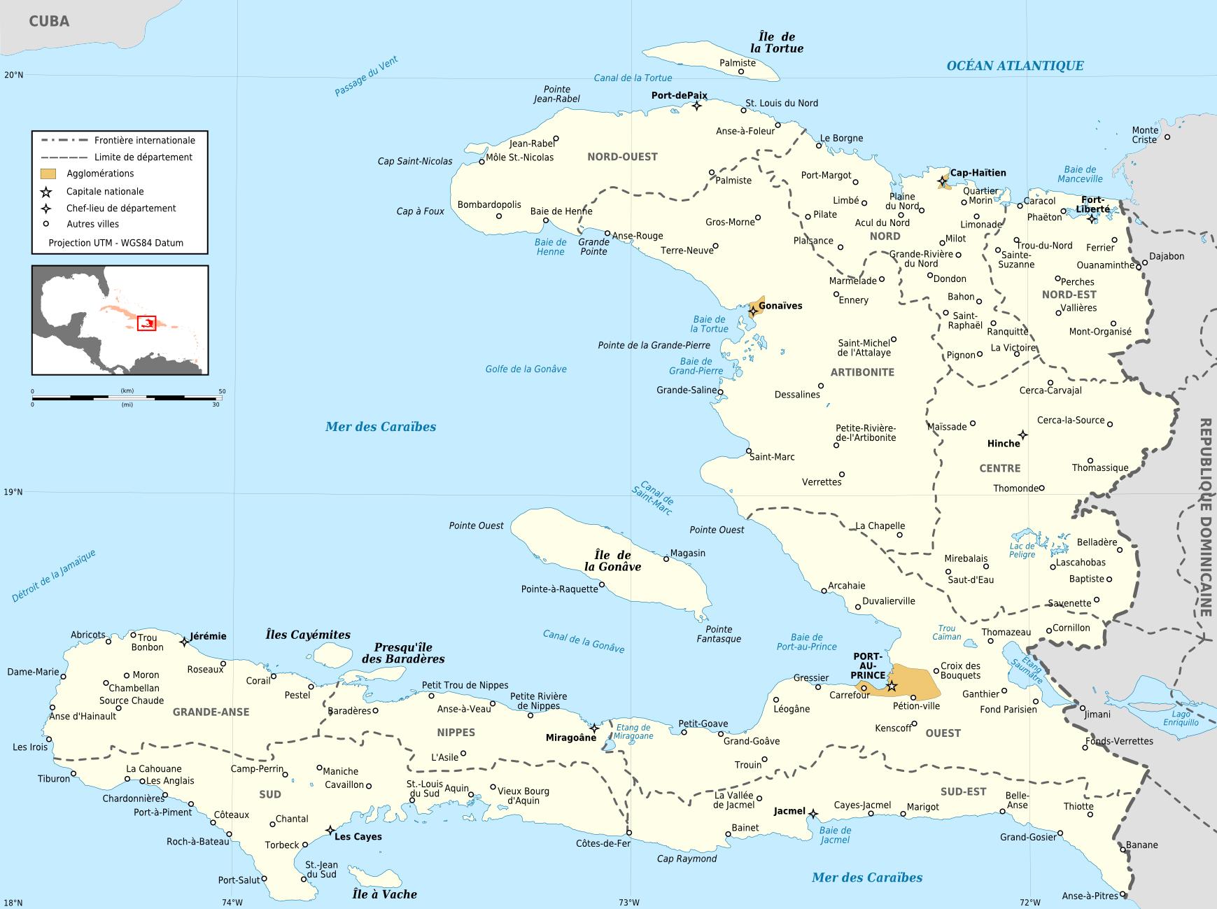 Haiti Karte.Landkarte Haiti Politische Karte Weltkarte Com Karten Und