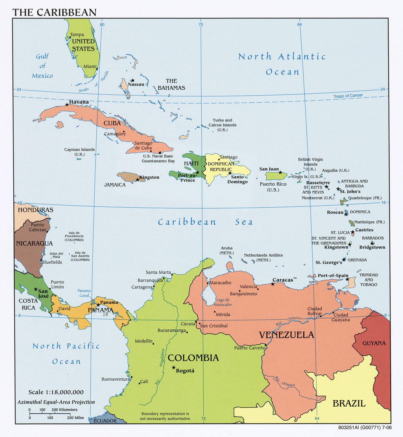 Karibik Karte.Karte Der Karibik Politische Karte Weltkarte Com Karten Und