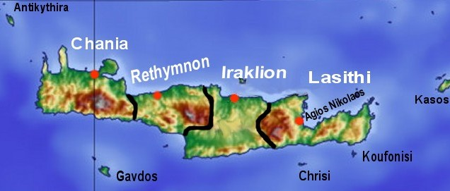 Landkarte Kreta Politische Karte Prafekturen Weltkarte Com